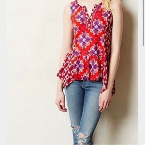 Anthropologie Red Aztec Embroidered Tank